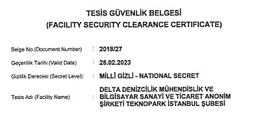 Delta Marine Obtained National and NATO Facility Security Clearance Certificate
