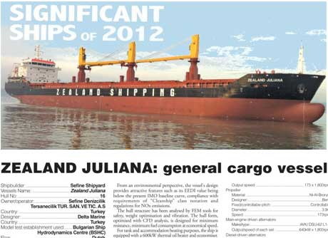 RINA: Zealand Juliana General Cargo Ship is a Significant Ship of 2012